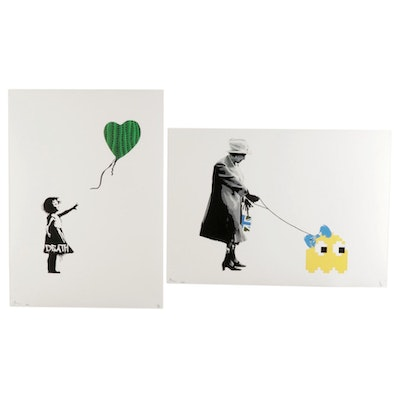 "Death NYC Pop Art Graphic Prints ""Balloon Pumpkin 4"" and ""Queen Invade Yellow"""
