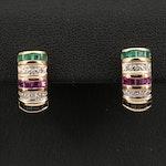 14K Diamond and Gemstone Earrings