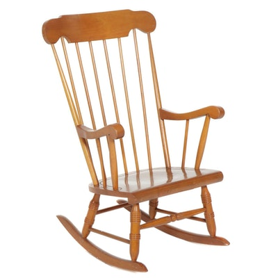 Maple Spindle-Back Rocking Chair, Late 20th Century