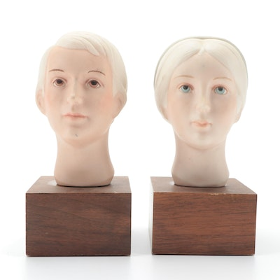 Laszlo Ispanky for Goebel of Hand-Painted Porcelain Busts, 1978