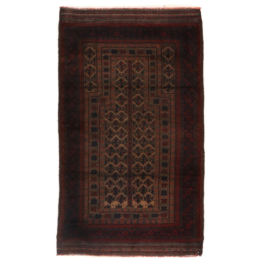 2'10 x 4'9 Hand-Knotted Afghan Baluch Prayer Rug