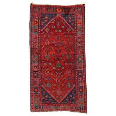 4'2 x 8'3 Hand-Knotted Persian Kurdish Bidjar Wool Area Rug