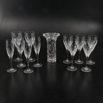 "Marquis by Waterford ""Wyndmere"" Stemware and ""Ceylon"" Vase"