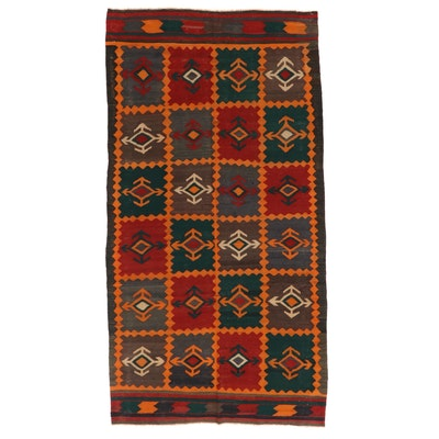 4'7 x 9'0 Handwoven Caucasian Kilim Wool Area Rug, 1940s