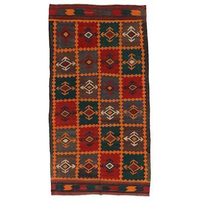 4'7 x 9'0 Handwoven Caucasian Kilim Wool Area Rug, 1940s