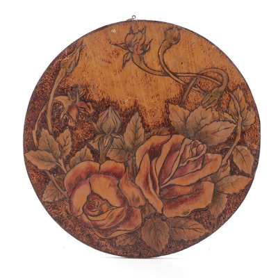 Arts and Crafts Pyrographic Hand-Painted Roses Wall Plaque
