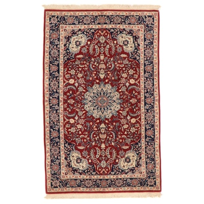 5'1 x 8'7 Hand-Knotted Persian Isfahan Wool Area Rug