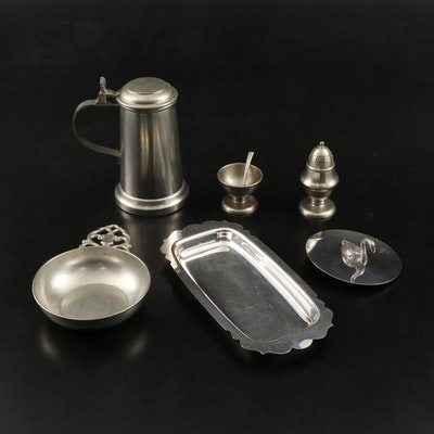 Royal Holland and C.Kurz & Co. Pewter with Other Silver Plate Table Accessories