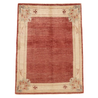 4'7 x 6'5 Hand-Knotted Afghan Vegetable-Dyed Wool Area Rug