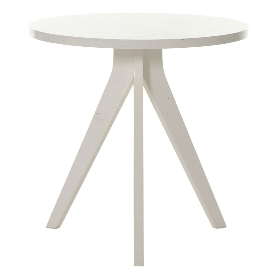 West Elm White Tripod Table, 21st Century