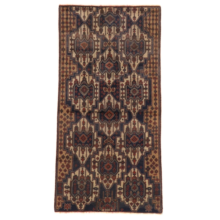 3'11 x 8'2 Hand-Knotted Afghan Baluch Wool Area Rug