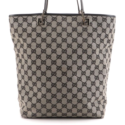 Gucci Shoulder Tote in GG Canvas with Black Leather Trim