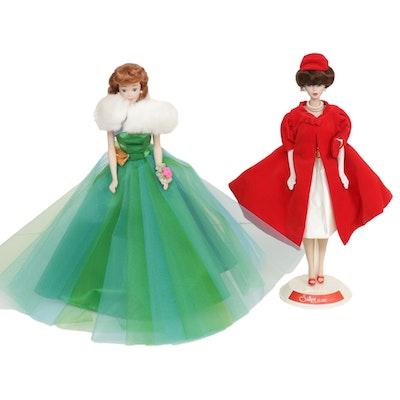 "Mattel Barbie ""Silken Flame"" and Midge 30th Anniversary Porcelain Dolls, 1990s"