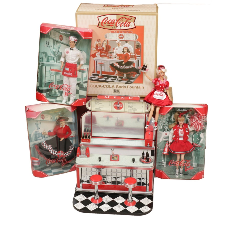 Mattel Coca-Cola Themed Barbies with Classic Diner Soda Fountain