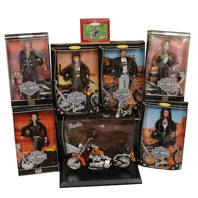 Mattel Harley-Davidson Barbie and Ken Dolls, Motorcycle, and Christmas Ornaments