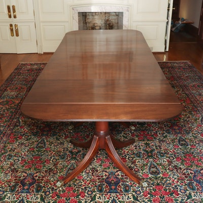 Regency Style Mahogany Triple Pedestal Dining Table, circa 1920