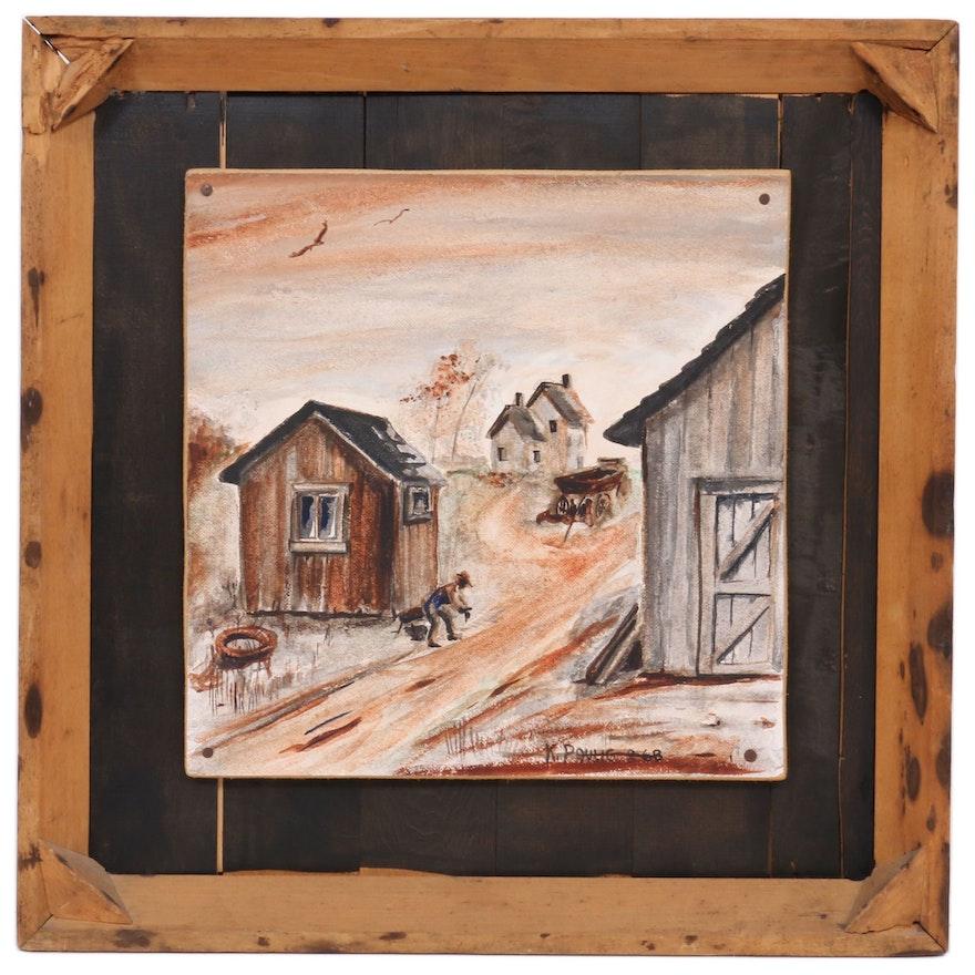 K. Paulig Rural Countryside Watercolor Painting, 1968