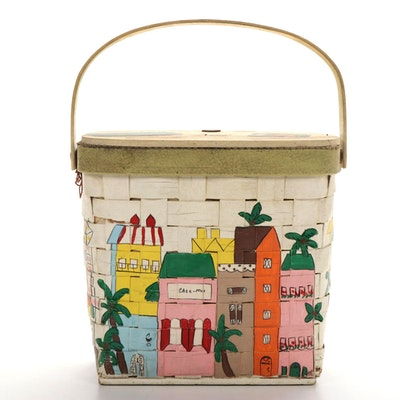 Anne Laurie of Palm Beach Hand-Painted Basket Handbag