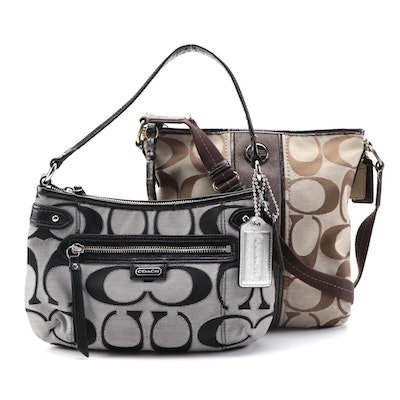 Coach Signature Canvas and Patent Leather Trim Shoulder Bags