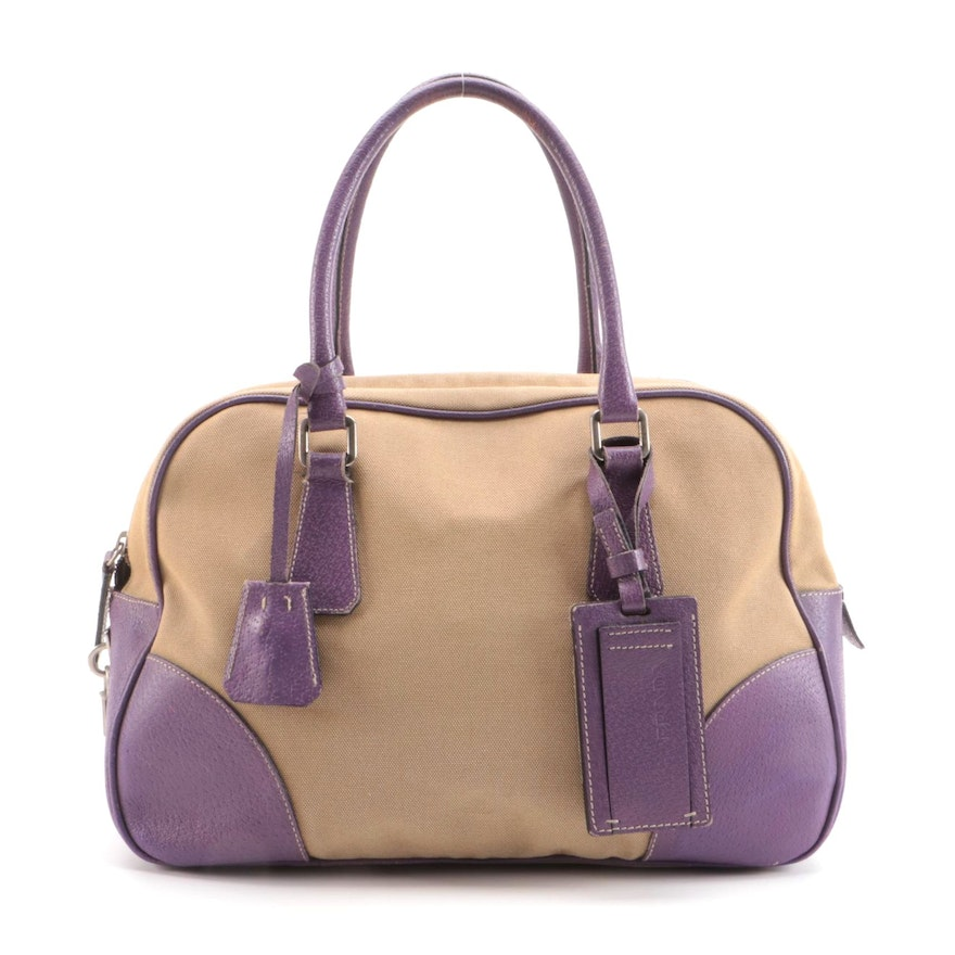 Prada Bauletto Bag in Canapa Canvas with Lilac Leather Trim