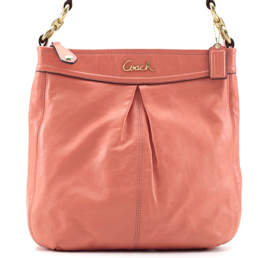 Coach Ashley Hipster Pleated Coral Leather Crossbody