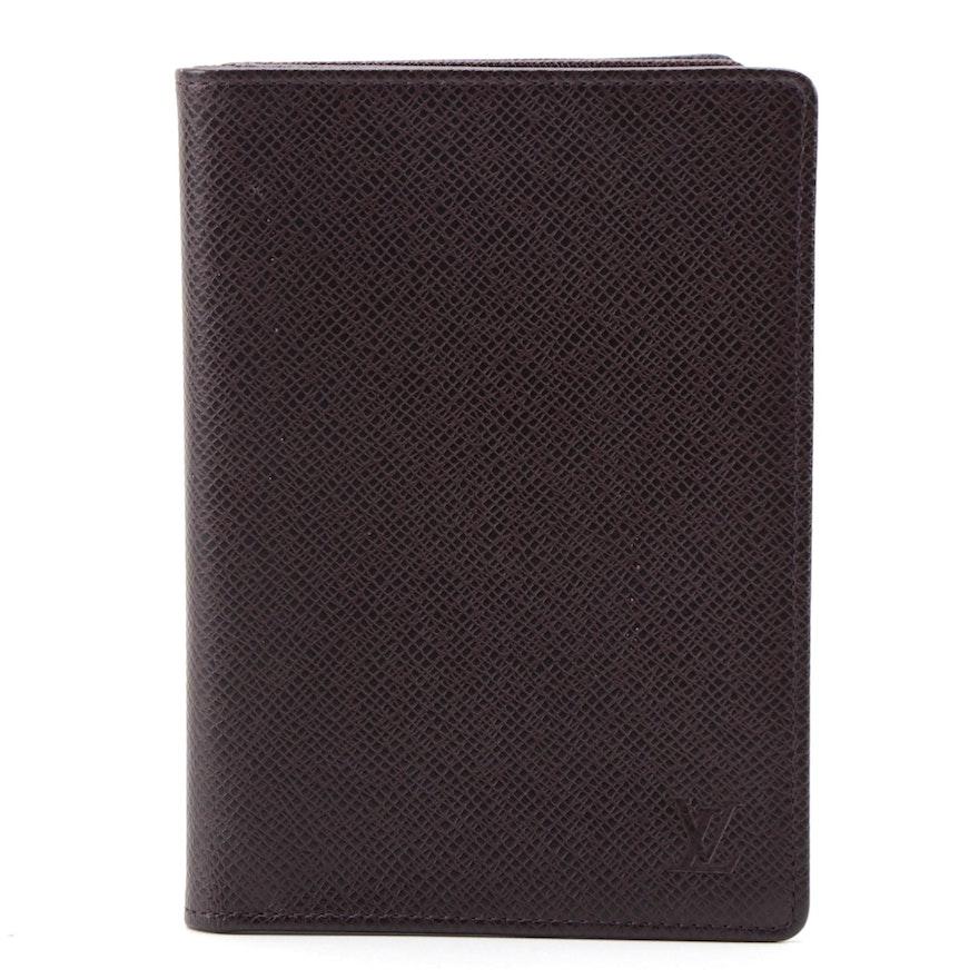 Louis Vuitton Passport Holder in Burgundy Ardoise Taïga Leather