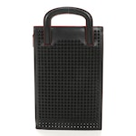 Christian Louboutin Trictrac Portfolio Bag in Studded Black and Red Leather