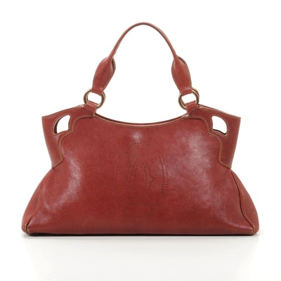 Cartier Marcello Shoulder Bag in Red/Rust Leather with Contrast Stitching