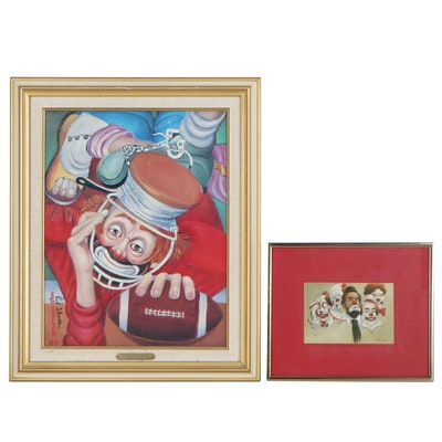 Offset Lithographs of Clowns, Late 20th Century