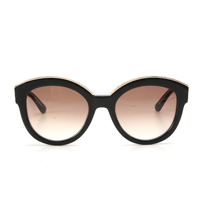 ETRO ET604S Modified Cat Eye Sunglasses in Black and Gold