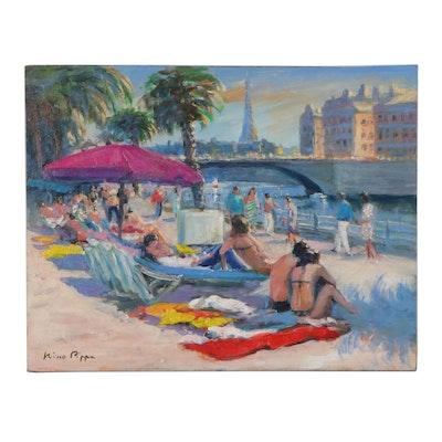 "Nino Pippa Oil Painting ""Paris - Beach Scene on the Rive Droit"""