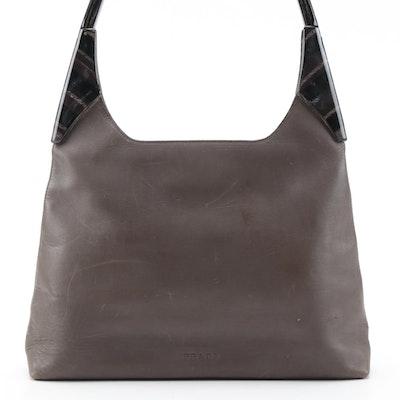 Prada Marbled Resin Handle Shoulder Bag in Brown Leather