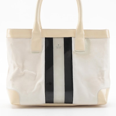 Gucci Stripe Tote Bag in Ivory Canvas and Patent Leather