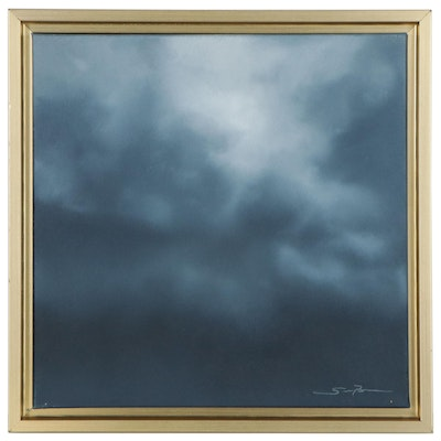 "Sarah Brown Oil Painting ""Cloudscape Series II,"" 21st Century"