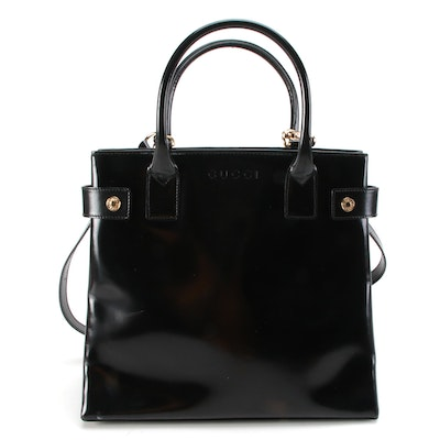 Gucci Black Patent Leather Two-Way Tote