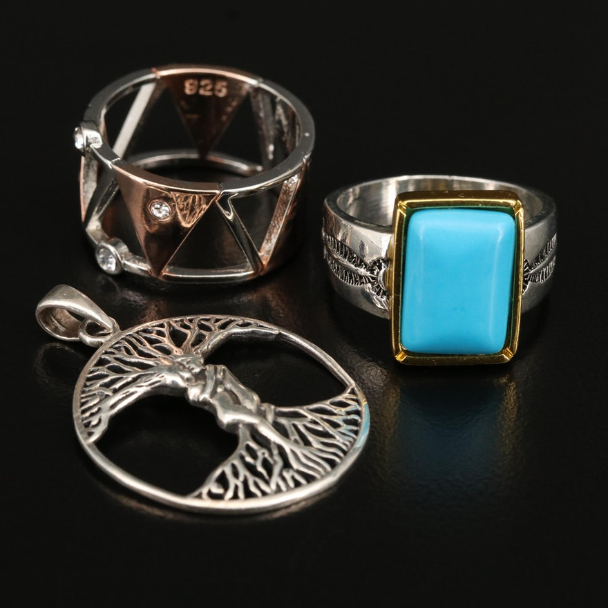 Sterling Faux Turquoise Stampwork and Openwork Rings with Tree of Life Pendant