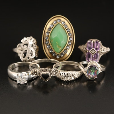 "Sterling Ring Selection Including Silpada ""K&R Collection"" and Mystic Topaz"