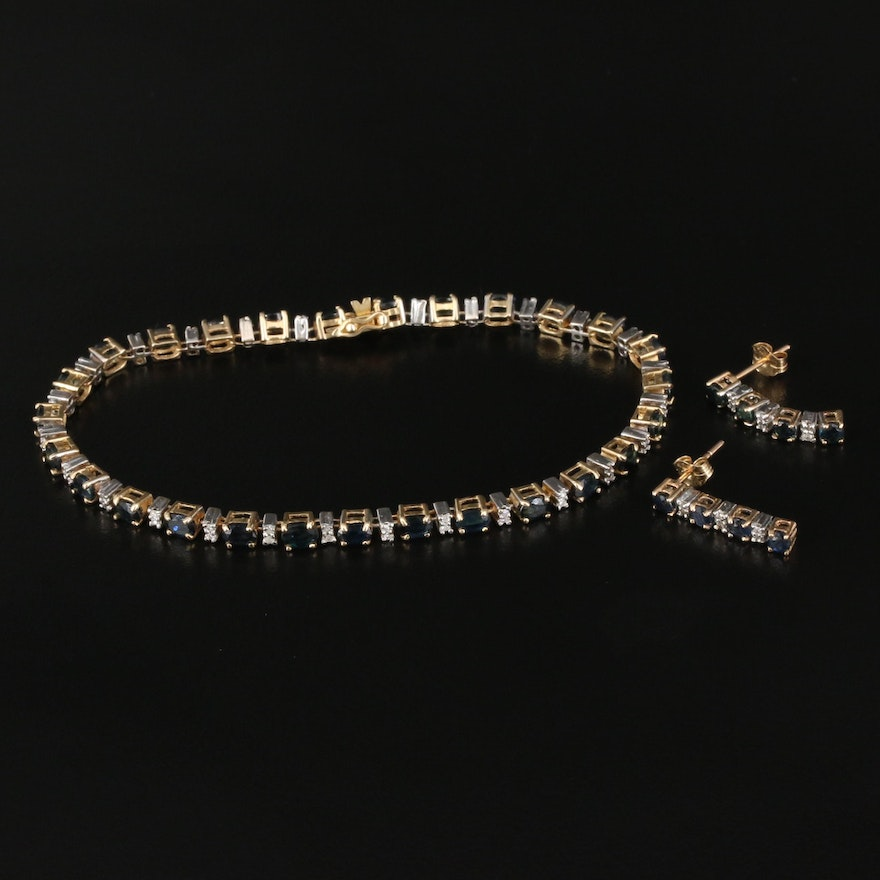 14K Line Bracelet and 10K Earrings Featuring Sapphires and Diamonds