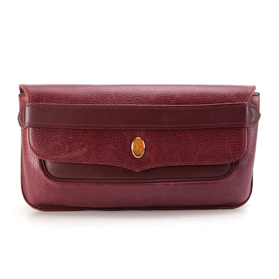 Must de Cartier Burgundy Grained and Smooth Leather Front Flap Clutch