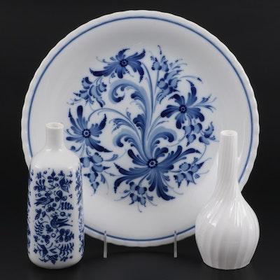 Porsgrund Hand-Painted Bone China Platter and Bud Vase with Other Vase