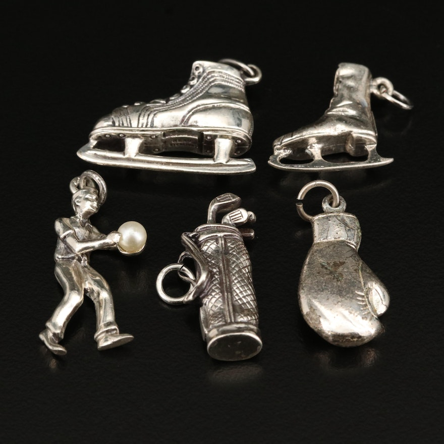 Sterling Sports Themed Charm Selection with Ice Skates and Bowler Charms