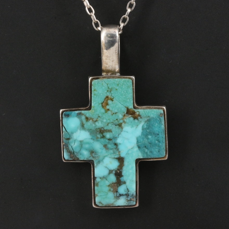 Sterling Turquoise Inlay Cross Necklace