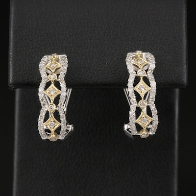 10K Diamond Openwork J-Hoop Earrings