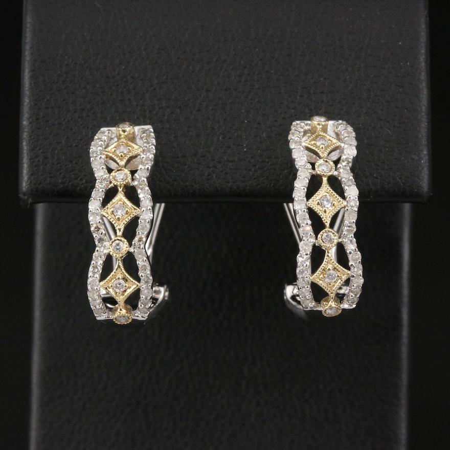 10K Diamond Openwork J-Hoop Earrings