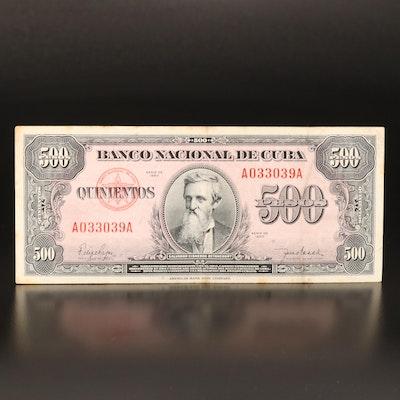 1950 Cuba (Banco Nacional de Cuba) 500 Peso Banknote