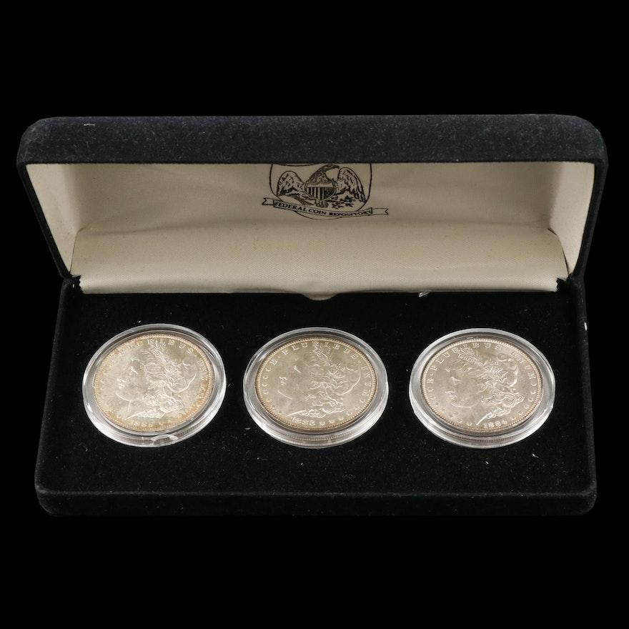 Uncirculated Morgan Silver Dollars, 1883-O, 1884-O, and 1885-O