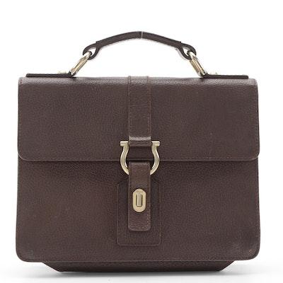 Salvatore Ferragamo Gancini Turnlock Handbag in Brown Pigskin Leather