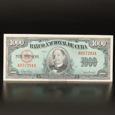 1,000 Peso Banknote from the National Bank of Cuba, 1950