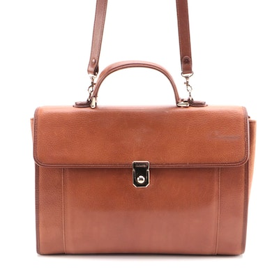 Burberry Brown Leather Convertible Business Bag/Briefcase