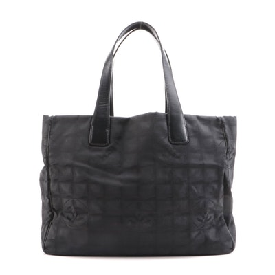 Chanel Travel Line Black CC Logo Nylon Tote